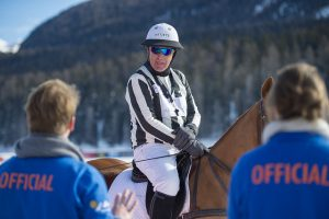 Referee waiting to start snow polo
