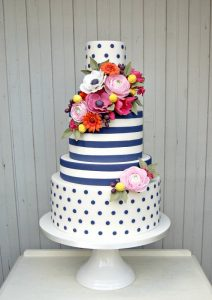 stripe and dot wedding cake