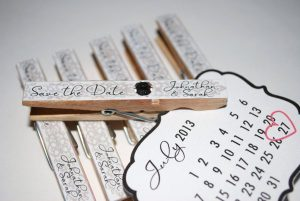 Unusual Wooden Pegged wedding invitations