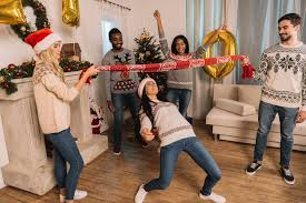 Christmas Top Tips - Friends playing christmas games