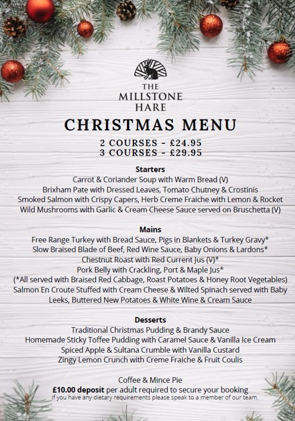 christmas menu 2019 @ The Millstone hare Warwickshire