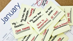 Keep New Year Resolutions - Resolutions on stick it notes